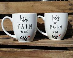 His and Hers Coffee Mugs Funny Couple Mugs Beard by HubsandHers