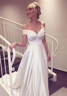 Simple white satin off shoulder long prom dress with train,woman fashion dress