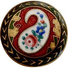 Art Deco Paisley Enamel Domed Gilt Brass Button.  Unusual floral within a paisley design.