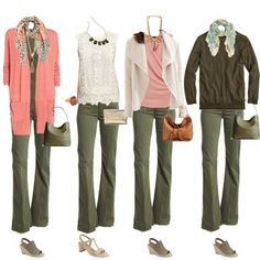 Looking Stylish is under construction - Don't just stick to blue jeans – great colour combination for Warm or Soft/warm colouring – www.lookingstylis… Source by - Olive Green Pants Outfit, Army Green Pants, Peach Pants Outfit, Outfits With Green Pants, Grey Pants, Casual Work Outfits, Chic Outfits, Fall Outfits, Fashion Outfits