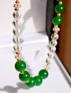 STUNNING Green Jade & Faceted Rock Crystal, Gold Vermeil Necklace by British Jewellery Designer Marcia White UK  MarciaWhiteUK, £340.00