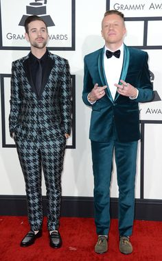 Do not try this at home. Ryan Lewis & Macklemore from 2014 Grammys: Red Carpet Arrivals | E! Online