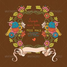 Vector Floral Illustration with Birds And Flowers - love the colors!