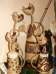 Поделка изделие кошачье царство Бутылки пластиковые Кофе Кружево Ленты Проволока Шпагат фото 1