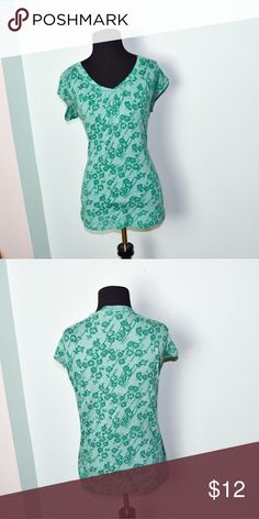Super Cute Seafoam Green Floral Print Blouse In excellent condition! Very comfortable, lightweight, and flattering! Buy 3 items and get 1 free plus 15% off your purchase total! Tops Blouses