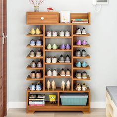 This shoe rack design appears simple and beautiful to be a convenient storage design for your favorite shoes. Besides being easy for you to use a shoe rack like this will display the beauty of neatness when your shoes are arranged. Wooden Shoe Rack Designs, Shoe Storage Design, Wooden Shoe Storage, Shoe Storage Cabinet, Shoe Cubby, Wooden Rack, Storage Cabinets, Kitchen Storage, Best Shoe Rack