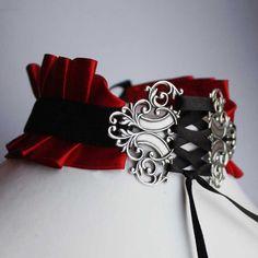 Tour de cou Corset Rouge Gothique Vampire