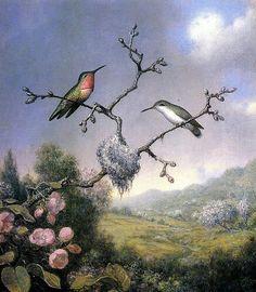 Martin Johnson Heade -Hummingbirds and Apple Blossoms