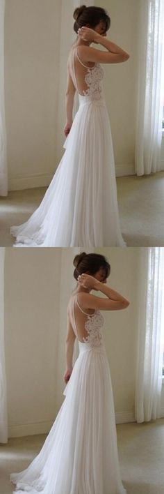 White Wedding Dresses,Simple Wedding Dress,Lace Bridal Gown, Sexy Wdding Gown,Backless Wedding Dress,Cheap Wedding Dress
