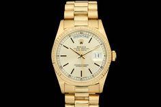 Rolex Day-Date *Double-Quick* in 18k Gelbgold (ca. 1990)  Präsident-Band, Champagner/Silber Zifferblatt, Geriffelte Lünette    Referenz: 18238  L-Serie   Ø 36 mm  http://www.juwelier-leopold.de/uhren/rolex/day_date.html