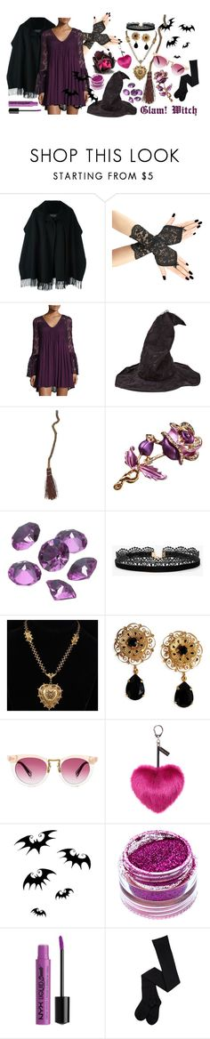"""""""Glam!Witch"""" by fashionable-loki ❤ liked on Polyvore featuring Salvatore Ferragamo, Romeo + Juliet Couture, Blue La Rue, Azalea, Dolce&Gabbana, Helen Moore, Medusa's Makeup and NYX"""
