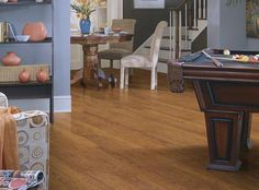 Laminate flooring in style Salvador, perfect for the entertainment space! by Shaw Floors