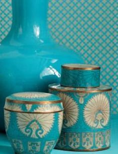 Turquoise Aqua, Turquoise Vases, Vintage Vases, Aqua Turquoise, Vases Tjn, Teal Turquoise, Color Turquoise, Antiques Gold