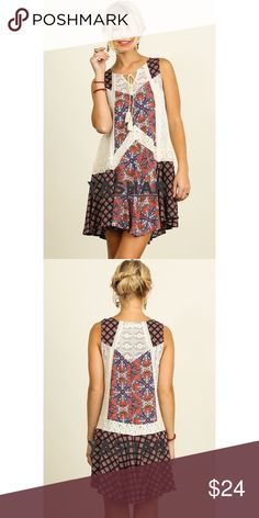 LABOR SALECowgirl Print Peasant Dress This is a Bohemian cowgirl print peasant dress with lots of prints. It has front tie and lace details both in front and at the back. The V-neck has a front tie with tassel. It is very loose that is why it is cool and fresh. Dresses