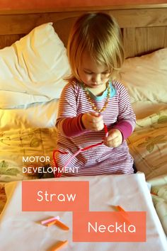 Knoala Late Preschooler Activity: 'Straw Necklace' helps little ones develop Motor skills. #Knoala #KidsActivities *What an great collection of no-prep activities for kids!