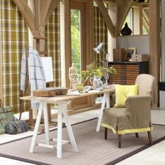 Furniture. white stained wooden based desk with rectangle natural teak wood table top combined with beige linen fbaric arm chair placed on grey rug. Extraordinary Rustic Desk Chairs Fopr Remodeling Your Home Office Interior