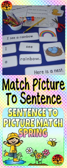 69 pages of sentence to picture matching featuring spring. Activities include sentence matching, spelling, writing, tracing, coloring, literacy, fine motor, cutting, pasting, reading, comprehension, and more. For kindergarten, preschool, SPED, child care, homeschool, or any early childhood setting.