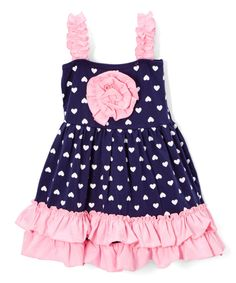 Another great find on #zulily! Navy & Pink Heart Ruffle A-Line Dress - Infant, Toddler & Girls by Lady's World #zulilyfinds