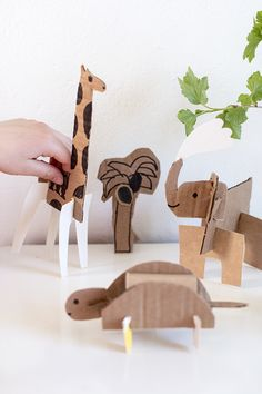 Simple cardboard animals imagination and pretend play cardbo Projects For Kids, Diy For Kids, Diy And Crafts, Craft Projects, Crafts For Kids, Cardboard Animals, Cardboard Crafts, Paper Crafts, Cardboard Castle
