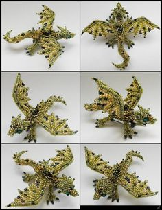 Green dragon brooch by *Rrkra - love her work!