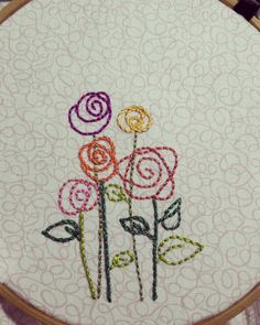 I doodle flowers like this ... but never thought of making them into embroidery. Doh! #flowerembroidery