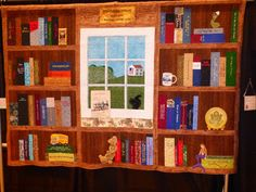 elaborate bookcase & window quilt, fundraiser for the whitehall public… Quilting Projects, Quilting Designs, Quilting Ideas, Scrappy Quilts, Baby Quilts, Quilt Block Patterns, Quilt Blocks, Harry Potter Quilt, Photo Quilts