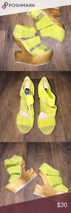 Dolce Vita Green Suede Wedge Shoes Size 8 Matches the cameo dress I have listed perfect never worn but purchased as display Dolce Vita Shoes Platforms