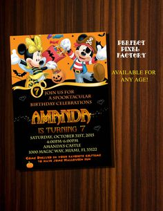 Mickey Mouse Halloween Invitation Minnie by PerfectPixelFactory