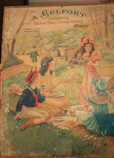 Antique chromolithograph dated 1906 children pick-nicking French countryside #ArtNouveau