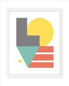 Geometric LOVE Inspirational Quote Print  - 8 x 10 Charcoal Grey Yellow Rain Blue Coral. $16.00, via Etsy.