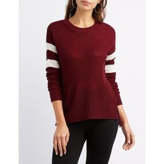 Charlotte Russe Varsity Stripe Tunic Sweater ($6.99) ❤ liked on Polyvore featuring tops, sweaters, burgundy cmb, sweater pullover, crew neck pullover sweater, open knit sweater, crew neck sweaters and burgundy crew neck sweater