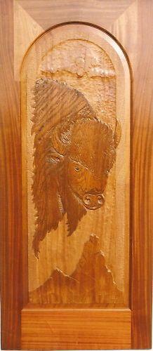Rustic Lodge Western Carved Wood Buffalo Door   eBay