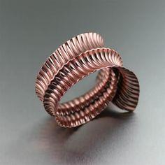 Designer Copper Fold Formed Bangle Showcased on https://www.johnsbrana.com/copper-corrugated-fold-formed-bangle-bracelet.html #JohnSBrana #BoHo