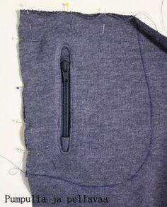 pocket with a zipper Sewing Hacks, Sewing Tutorials, Sewing Tips, Sewing Ideas, Zipper, Pocket, Knitting, Sweatshirts, Pattern
