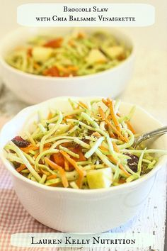 Raw Broccoli Slaw with Chia Balsamic Vinaigrette from Lauren Kelly Nutrition