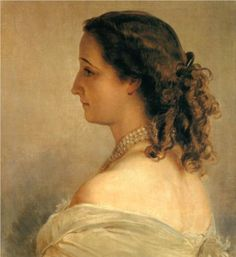Eugenie, Empress of the French - Franz Xaver Winterhalter    Some painters, like some film directors seem to have an obsession with female hairstyles. Coils are often present.