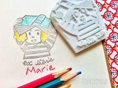 ex libbers stamp. bookplate stamp. girl loves reading hand carved rubber stamp. stamping on books/textbooks. diy bookmark. write your name