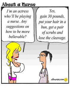 """Ah, my life comes full circle. Cartoon: Your take on actors playing """"nurse"""". - About A Nurse - Nursing Cartoon Series Medical Humor, Nurse Humor, Paramedic Humor, Nurse Quotes, Funny Quotes, Just For Laughs, Just For You, Nurse Problems, Nurse Love"""