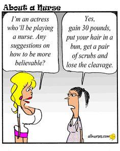 "Ah, my life comes full circle. Cartoon: Your take on actors playing ""nurse"". - About A Nurse - Nursing Cartoon Series Hello Nurse, Nurse Love, Medical Humor, Nurse Humor, Paramedic Humor, Nurse Quotes, Funny Quotes, Nurse Problems, Nursing Notes"
