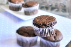 My go-to chocolate cupcake recipe These are ooie gooie amazing! I used less sugar, replaced some with agave and used soya natural yoghurt! Vegan Sweets, Healthy Baking, Vegan Desserts, Healthy Desserts, Delicious Desserts, Healthy Recipes, Eating Healthy, Clean Eating, Yummy Food