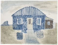Little blue house. James Castle, Untitled, n. Found paper, soot, color of unknown origin. Painting Collage, Painting & Drawing, Art Paintings, James Castle, Critique D'art, Create Drawing, Art Brut, House Quilts, Naive Art