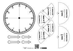 Se trata de un recortable en el cuál se han representado mediante un semicírculo las medias horas y mediante sectores circulares los cuartos, al objeto de representar gráficamente el paso del tiemp...
