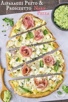 Naan Pizza with Asparagus Pesto, Prosciutto, Goat Cheese & Fontina- short pin 2