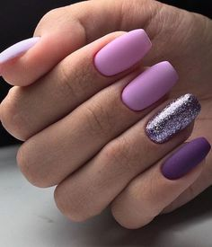66 Natural Summer Nails Design For Short Square Nails Page 20 of 66 - Summer Nail Colors Ideen Purple Nail Designs, Short Nail Designs, Nail Polish Designs, Nails Design, Cute Acrylic Nails, Cute Nails, Pretty Nails, Blue Nail, Purple Nails