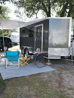 Converted Cargo Trailer, Cargo Trailer Camper Conversion, Toy Hauler Camper, Trailer Awning, Diy Camper Trailer, Camping Trailer Diy, Work Trailer, Trailer Storage, Jeep Camping