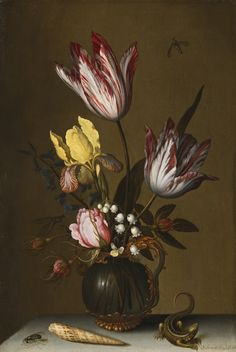 Balthasar van der Ast  MIDDELBURG 1593/94 - 1657 DELFT  STILL LIFE OF TULIPS, ROSES, AN IRIS AND LILY OF THE VALLEY IN AN ORNATE GLASS JUG ON A STONE LEDGE WITH A LIZARD AND A SHELL