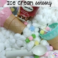 Ice cream sensory bin plus 40 sensory bin ideas for the whole year! #sensorybin #sensorytable #sensory #sesoryplay #preschool #prek #kindergarten Sensory Tools, Sensory Bins, Summer Ice Cream, Ice Cream Theme, Little Learners, Dramatic Play, Kindergarten Classroom, Pre School, Literacy