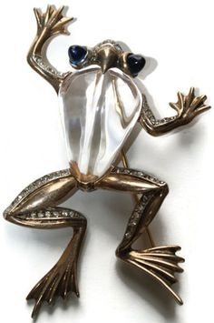 Trifari Sterling Jelly Belly Frog Pin Brooch 1940's, Luminous Bijoux Exclusively on Ruby Lane