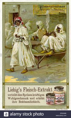 Algerian Scenes: In front of the coffee house . Illustration of 1910. Liebig Extract of Meat Collectible Cards.