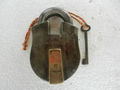 Old lron & Brass Solid Thick Santo Metal Work's 6 Lever Padlock, Nice Patina